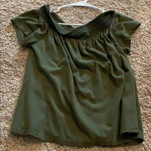 off the shoulder army green blouse